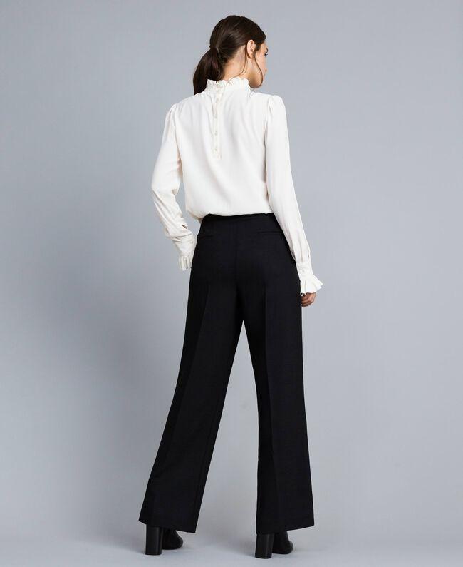 Pantalon palazzo en laine bi-stretch Noir Femme TA8272-03