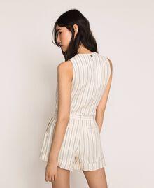 Pin stripe linen cropped waistcoat Antique White Pin Stripe / Blue Woman 201TT2304-03