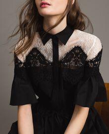 Robe chemise longue en popeline ornée de dentelle Noir Femme 191TT2122-06