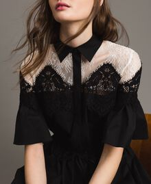 Poplin long shirt dress with lace Black Woman 191TT2122-06