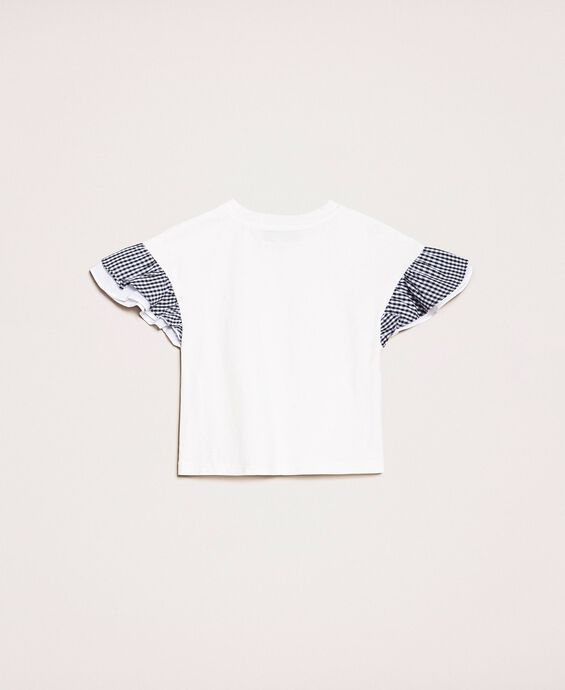 T-shirt with gingham sleeves