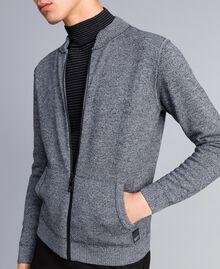 Cardigan aus Baumwolle und Wolle mit Reißverschluss Zweifarbig Mattweiß / Schwarz Mann UA83BA-01
