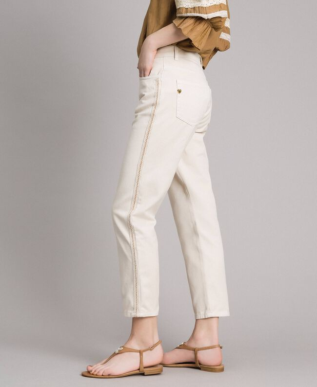 """Girlfriend trousers with embroideries """"Shell"""" Beige Woman 191MT2192-03"""