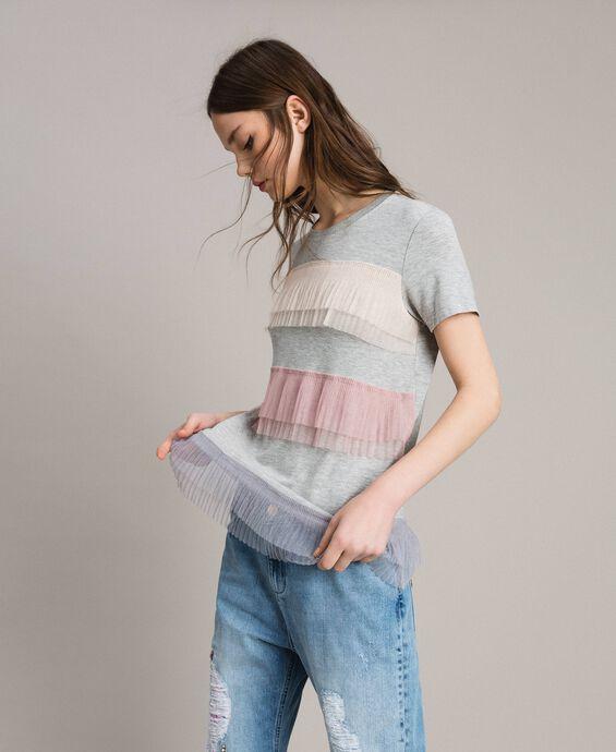 T-shirt avec volants en tulle plissé
