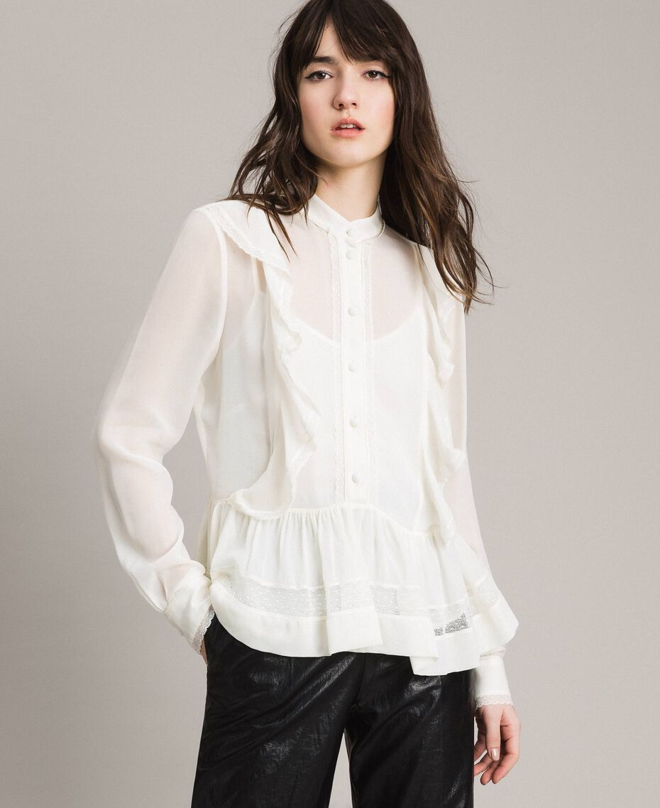 Georgette and lace blouse White Snow Woman 191TP2372-02