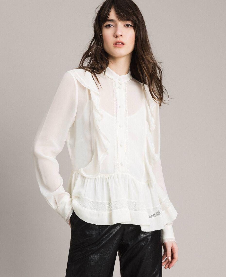 Georgette-Bluse mit Spitze Weiß Schnee Frau 191TP2372-02