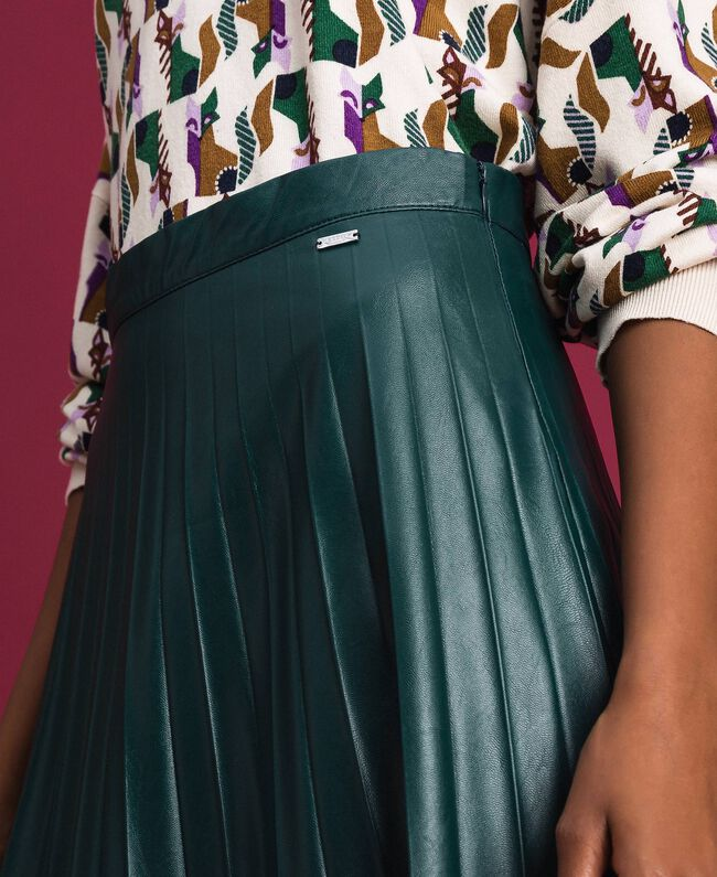 """Faux leather pleated midi skirt """"Forest"""" Green Woman 192ST2015-04"""