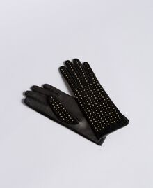 Studded suede gloves Bicolour Black / Gold Woman AA8P3F-01