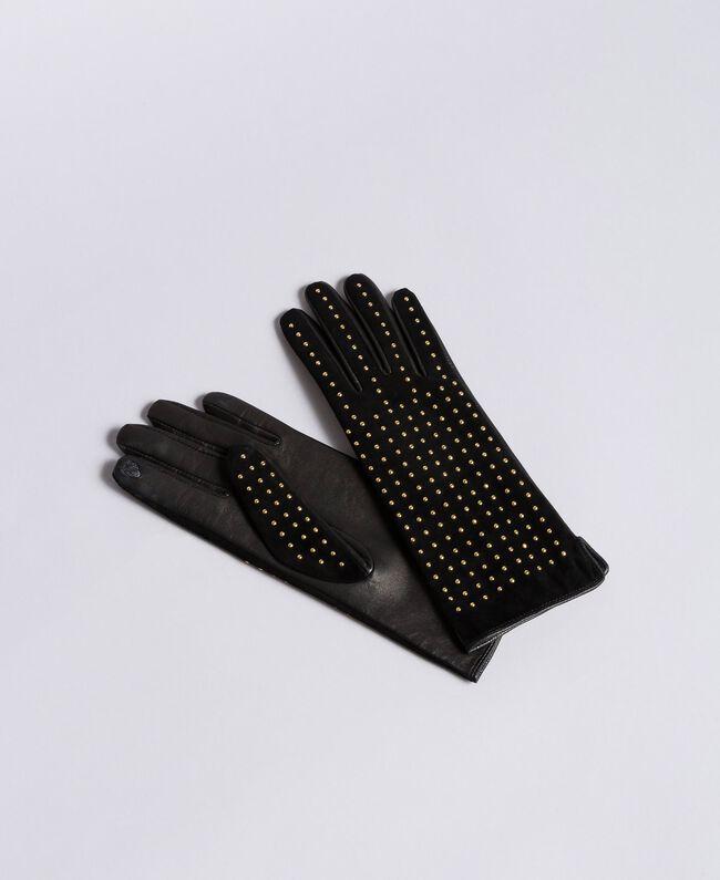 Guanti in camoscio con borchie Bicolor Nero / Oro Donna AA8P3F-01