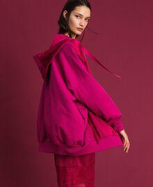 Maxi sweat en satin avec dentelle et franges Rouge Amaranth Femme 192MP2270-01