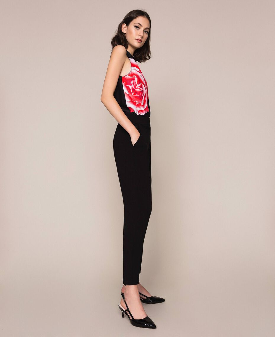 Satin jumpsuit with print Black Rose Print Woman 201LB28LL-02