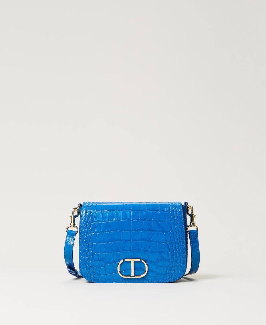 "Leather shoulder bag with crocodile print ""Nautical Blue"" Croc Print Woman 211TD8033-03"