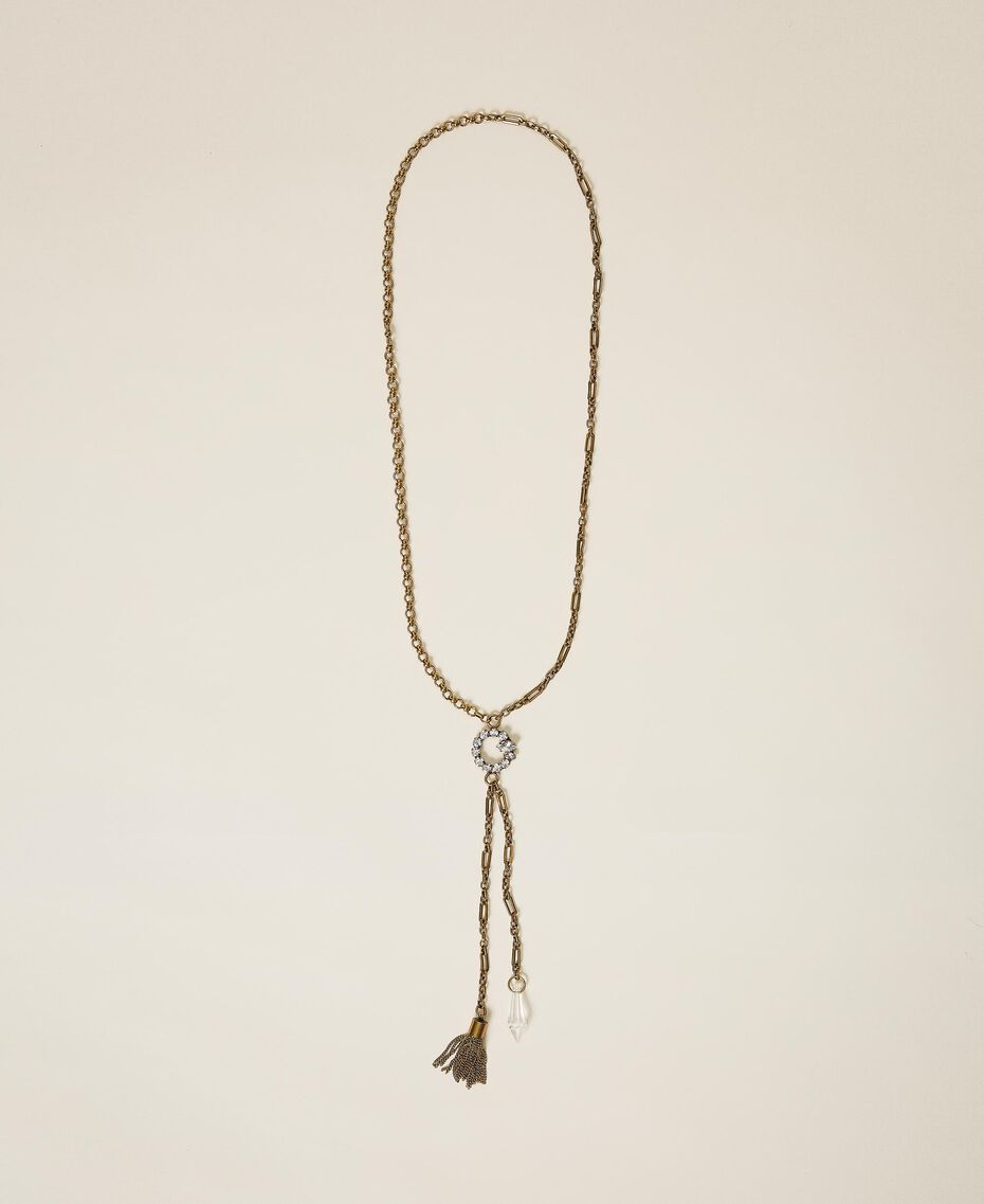 Chain necklace with pendants and rhinestones Crystal Woman 202TO5053-01