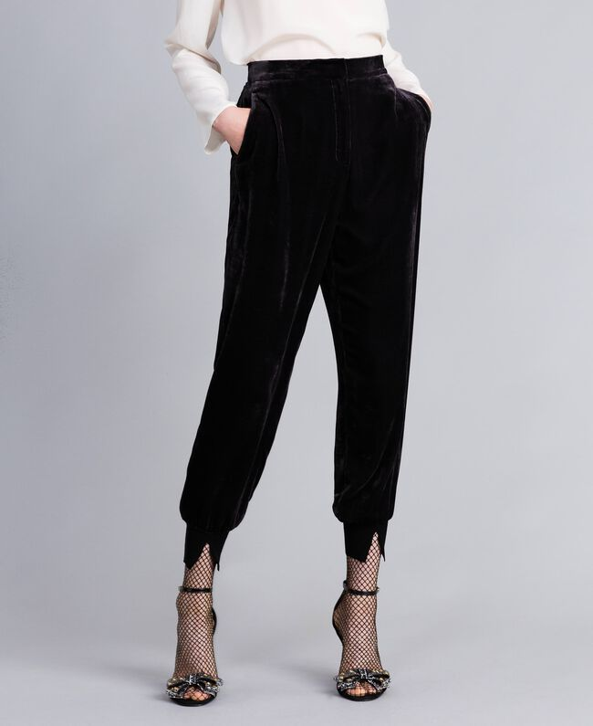 Velvet jogging trousers Black Woman PA823G-01