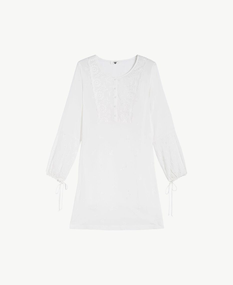 Broderie anglaise nightdress Ivory Woman LS8GBB-01