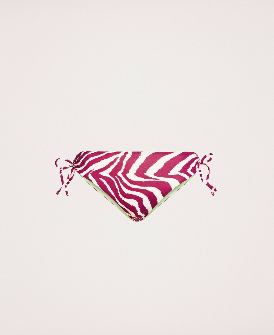 Bikini bottom with drawstring and print Flirty Rose Zebra Print Woman 201LBMG99-0S