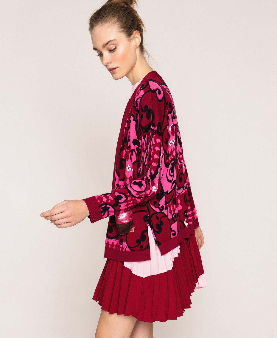 Printed cardigan with sequins Superpink Liberty Print Woman 201ST3162-01