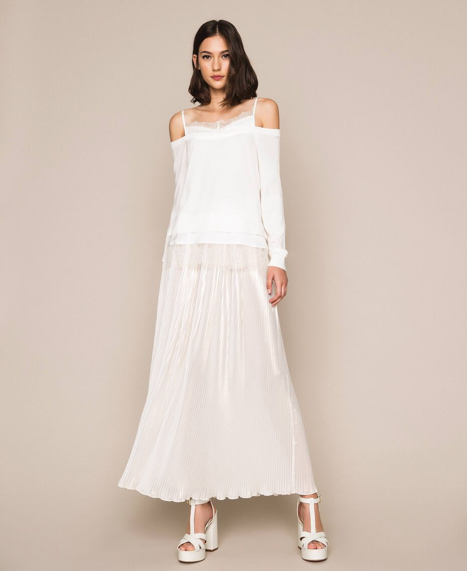 Laminated pleated long skirt Ivory Woman 201LB22LL-02
