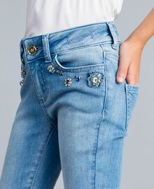 Skinny jeans with stones and rhinestones Light Denim Child GA82VN-0S