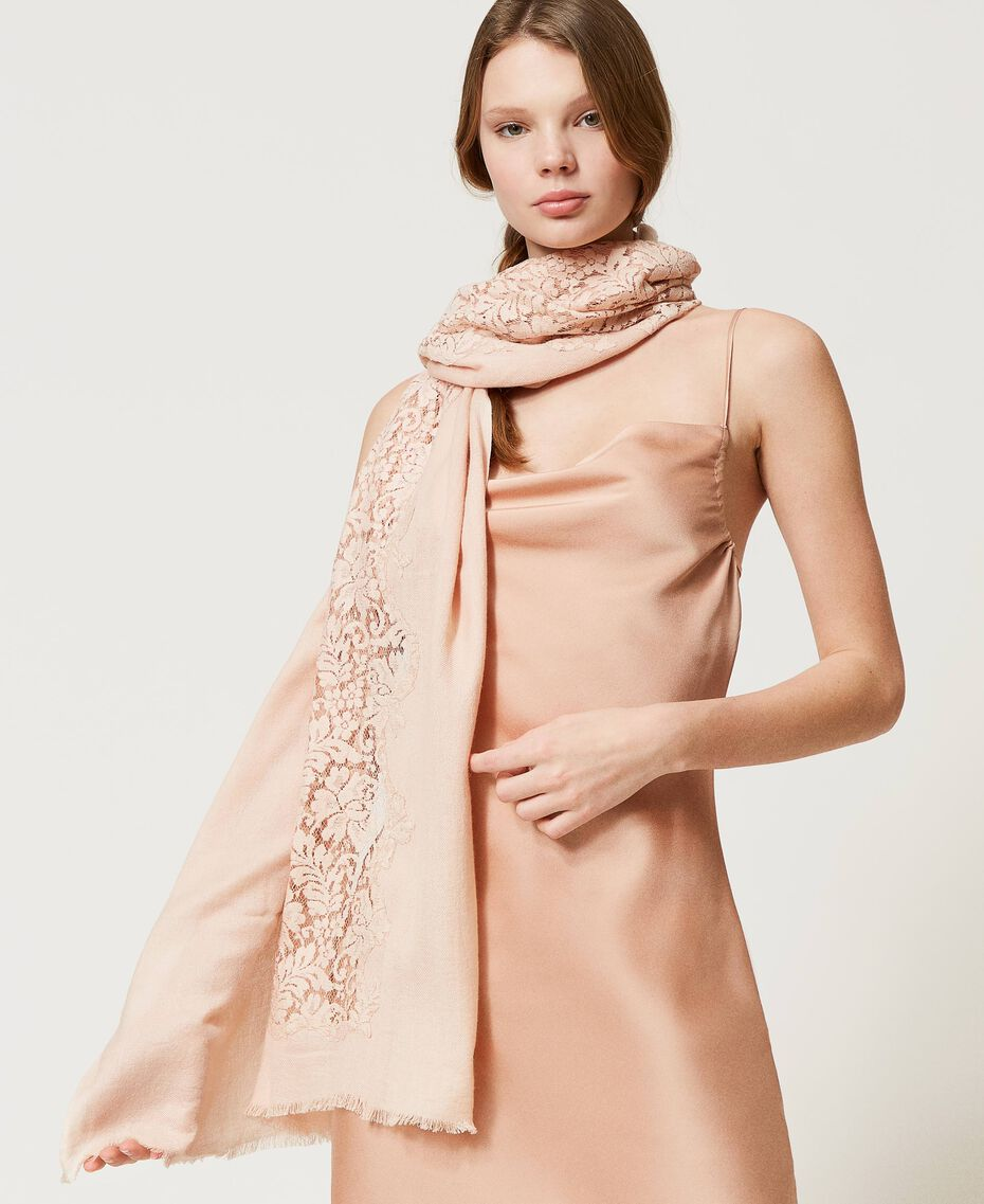 """Stole with lace inlay """"Nude"""" Beige Woman 202TA4405-0S"""
