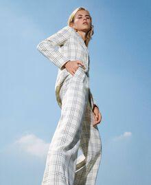 """Wool blend wide leg trousers Two-tone """"Snow"""" White / Black Woman 202TP254D-01"""