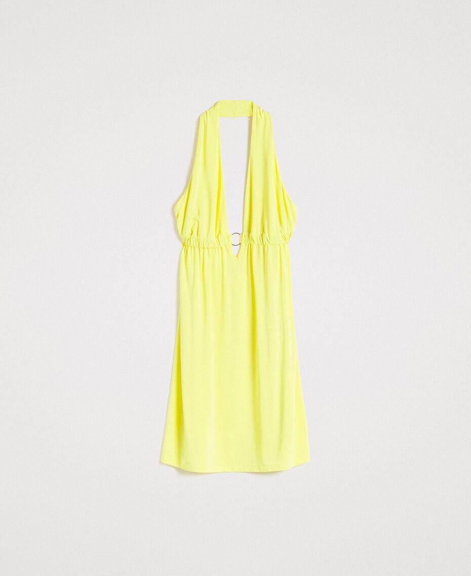 """Kleid aus Kreppjersey mit Zierring """"Lemon Juice"""" Gelb Frau 191LB22CC-0S"""