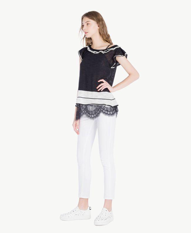 Top dentelle Bicolore Noir / Blanc Parchemin Femme YS83BB-05