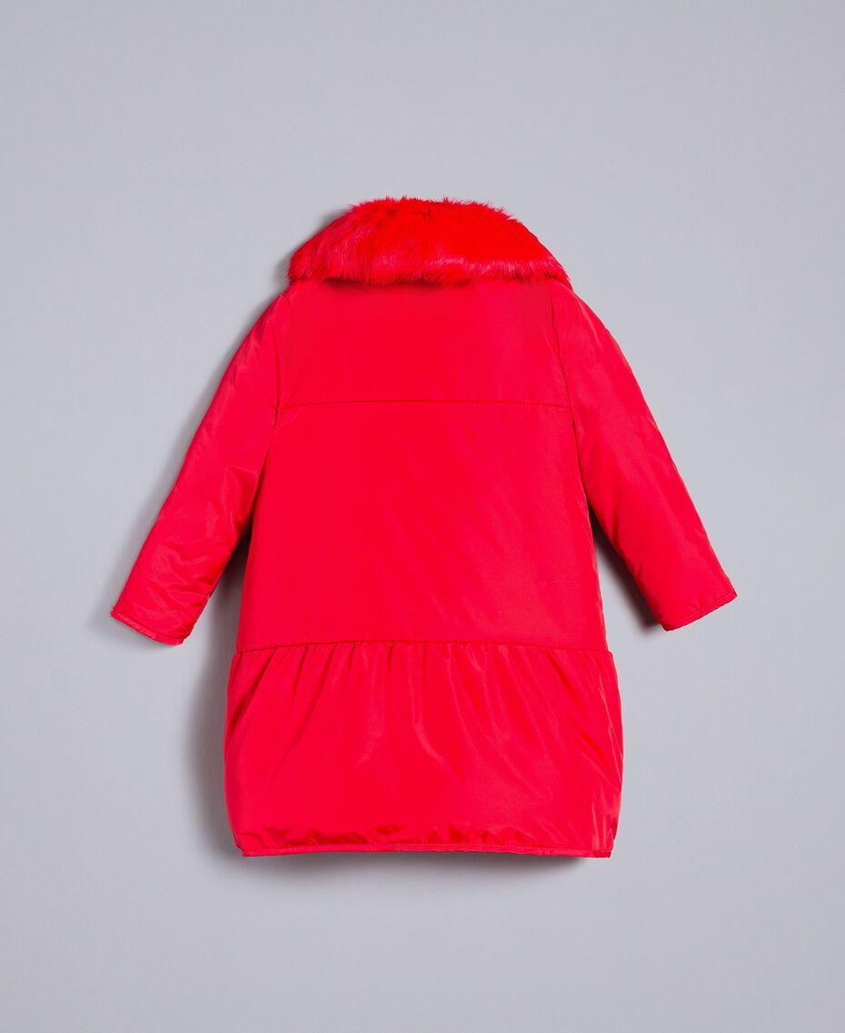 Piumino lungo in nylon Rosso Papavero Bambina FA82A4-0S