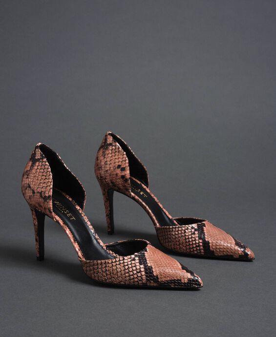 Animal print leather court shoes