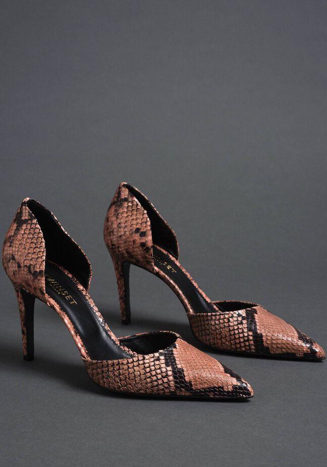 Кожаные туфли-лодочки с животным принтом