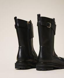 Кожаные ботинки-амфибии с ремешком Черный женщина 202TCP180-04