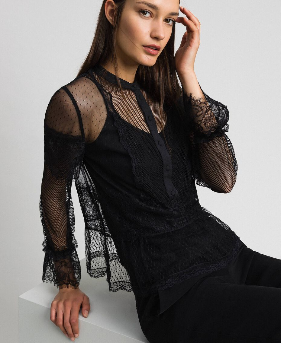 Blouse with tulle, lace and plumetis patch Black Woman 192TP2290-02