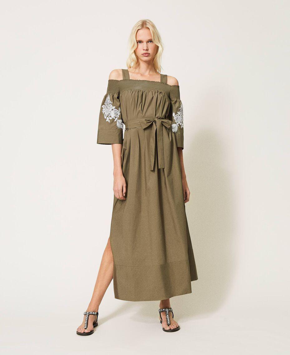 Off-shoulder poplin dress with embroidery Black Woman 211TT2475-03
