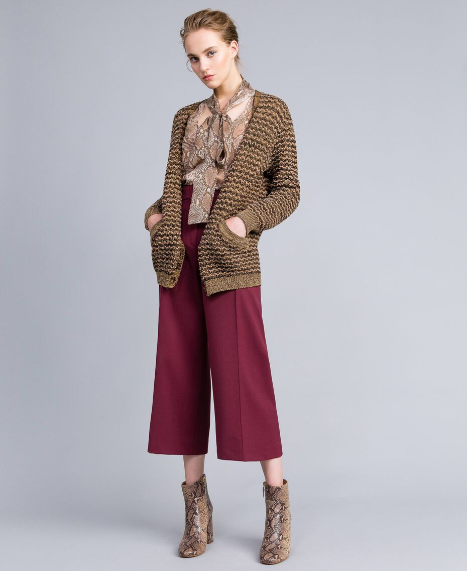 Pantacourt en laine froide Bordeaux Femme PA823N-0T