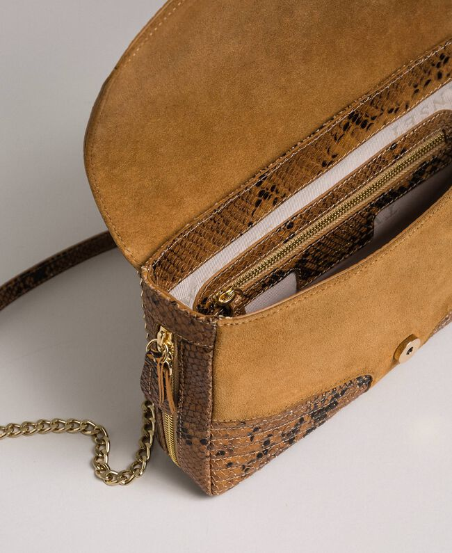 """Große Umhängetasche """"Rebel"""" aus Leder und Veloursleder Pythonprint Brandy Frau 192TO8241-05"""