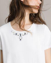 Maxi t-shirt avec broderie et dentelle Crème White Femme 191MP2065-04