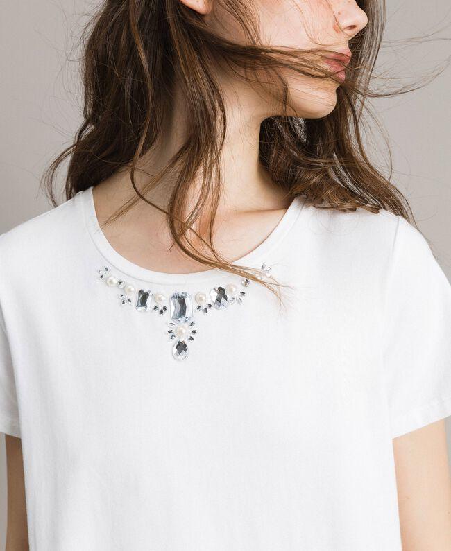 Maxi-T-Shirt mit Stickerei und Spitze White Sahne Frau 191MP2065-04