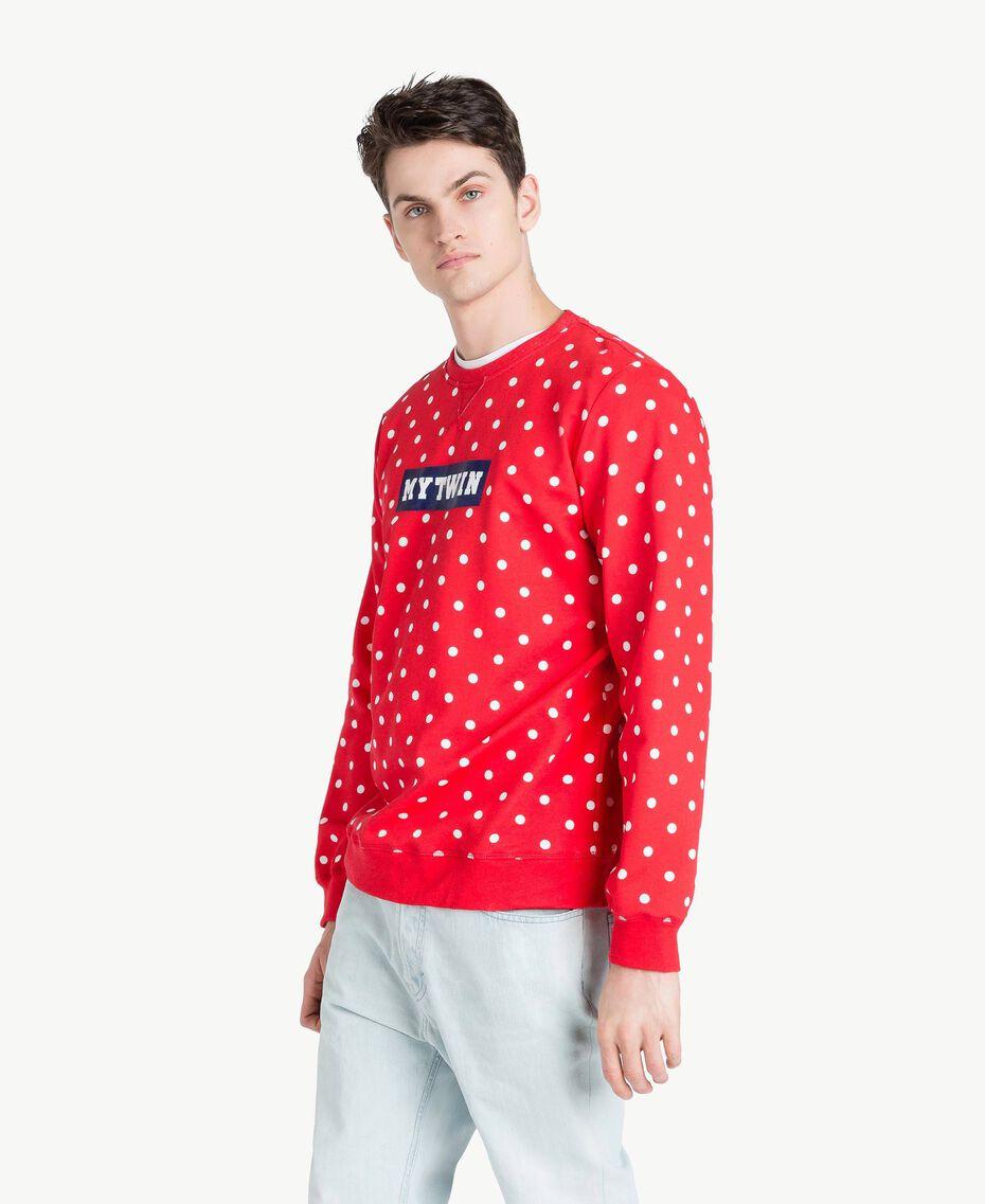 Sweatshirt mit Tupfen Geranienrot Mann US8252-02