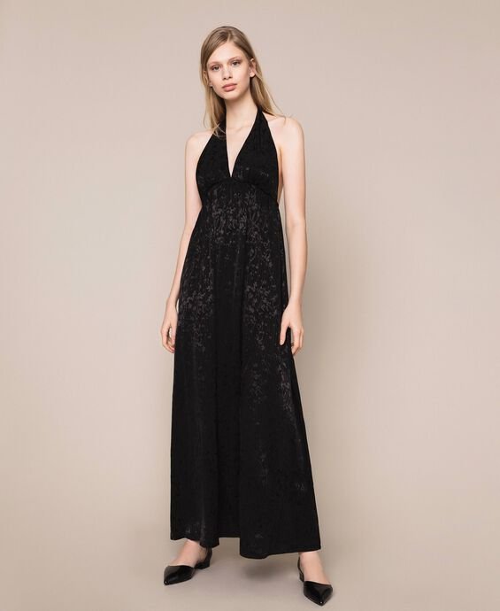 Long jacquard dress with floral design