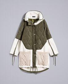 Parka en nylon et faux mouton Bicolore Vert Forêt / Blanc Neige Femme TA82BQ-0S