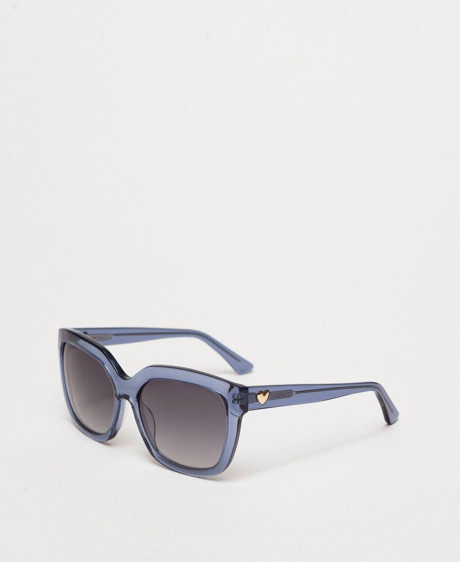 Eckige Sonnenbrille Grau / HellBlau Frau 999TZ4012-01