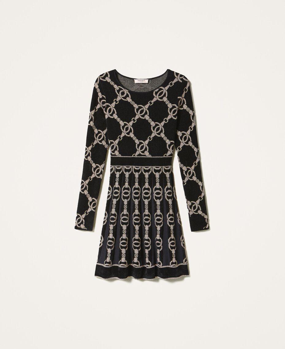 Kleid aus Jacquard-Strick mit Kettendessin Jacquard mit Kettendessin Schwarz Frau 202TT3161-0S