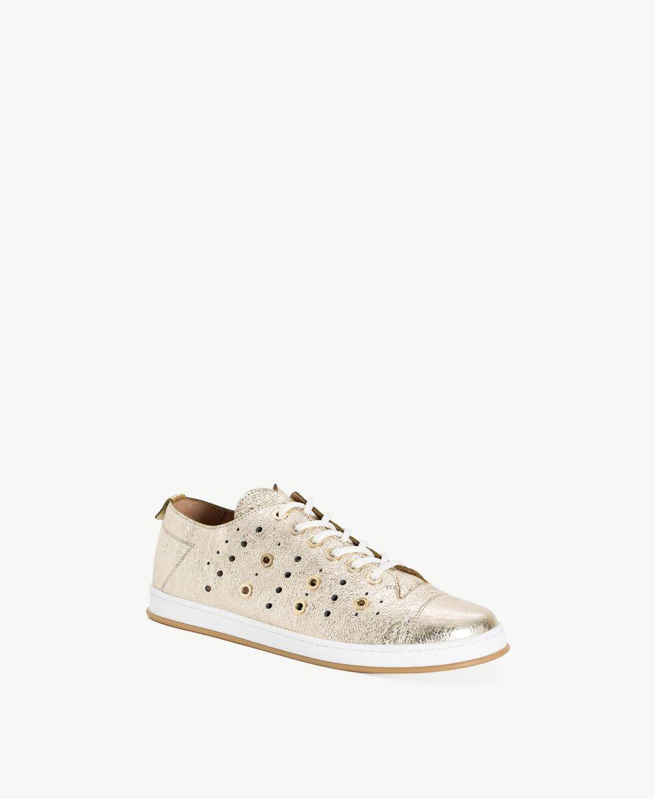 TWINSET Laminated sneakers Platinum Woman CS8PJE-02