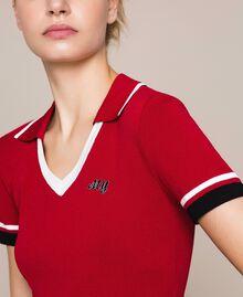 """Maglia a polo con profili a contrasto Multicolor Rosso """"Veneziano"""" / Vaniglia / Nero Donna 201MP3052-01"""