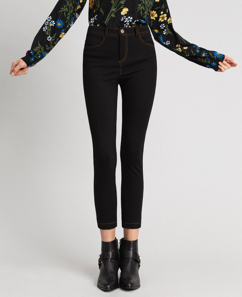 Leggings with contrasting stitching Black Woman 192MP2174-01