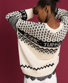 "Maxi jacquard jumper with logo and pearls Dark ""Papyrus"" White / Black Jacquard Woman 192TP332E-04"