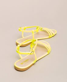 Fluorescent faux leather flat sandals Fluorescent Fuxia Woman 201MCT010-03