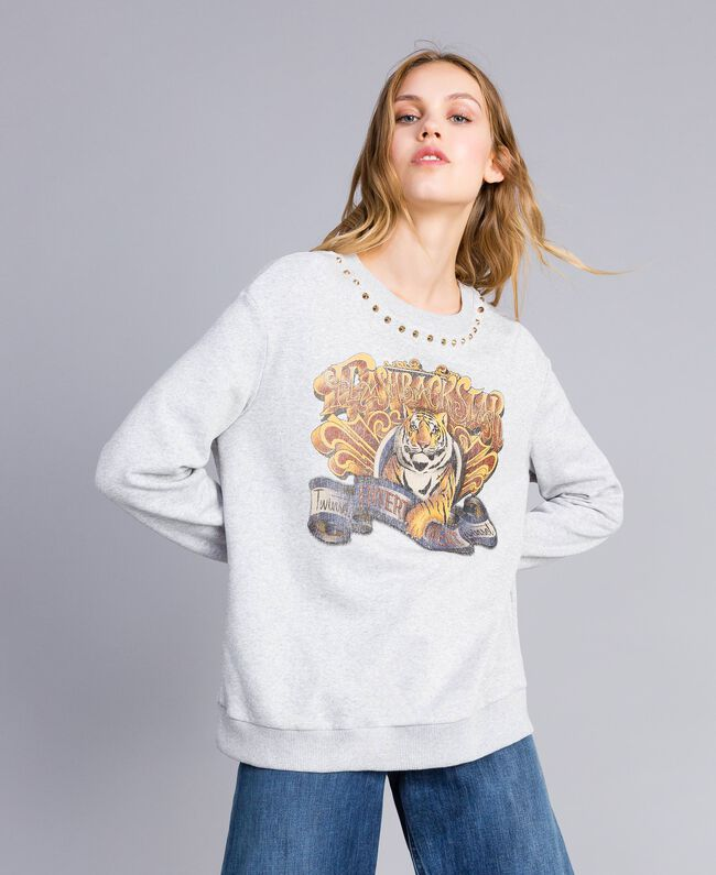 Printed cotton sweatshirt Melange Grey Woman TA82ZB-04