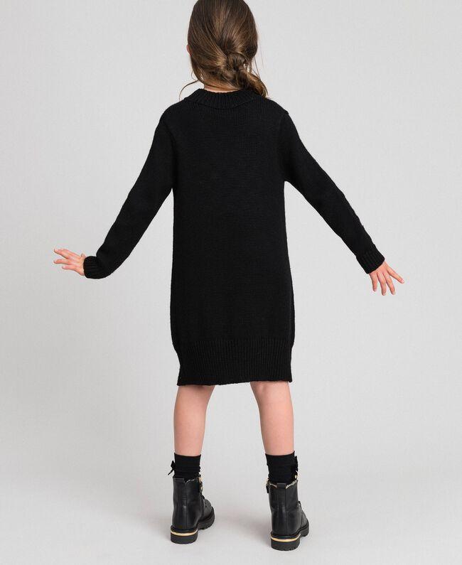 Robe en maille avec cœurs incrustés Noir / Jacquard Enfant 192GJ3190-03