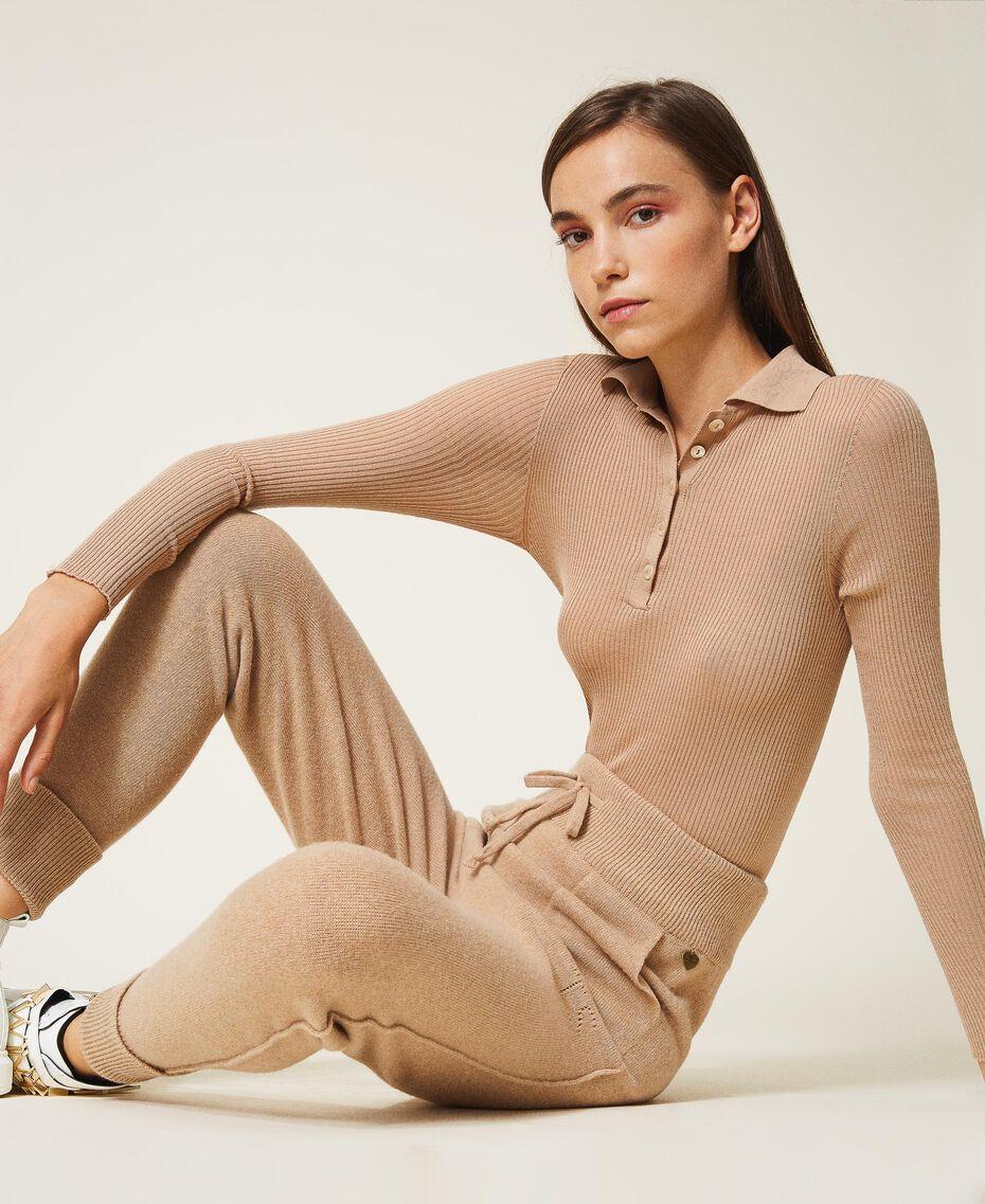 "Ribbed wool jumper ""Pastel Skin"" Beige Woman 202TT3080-02"